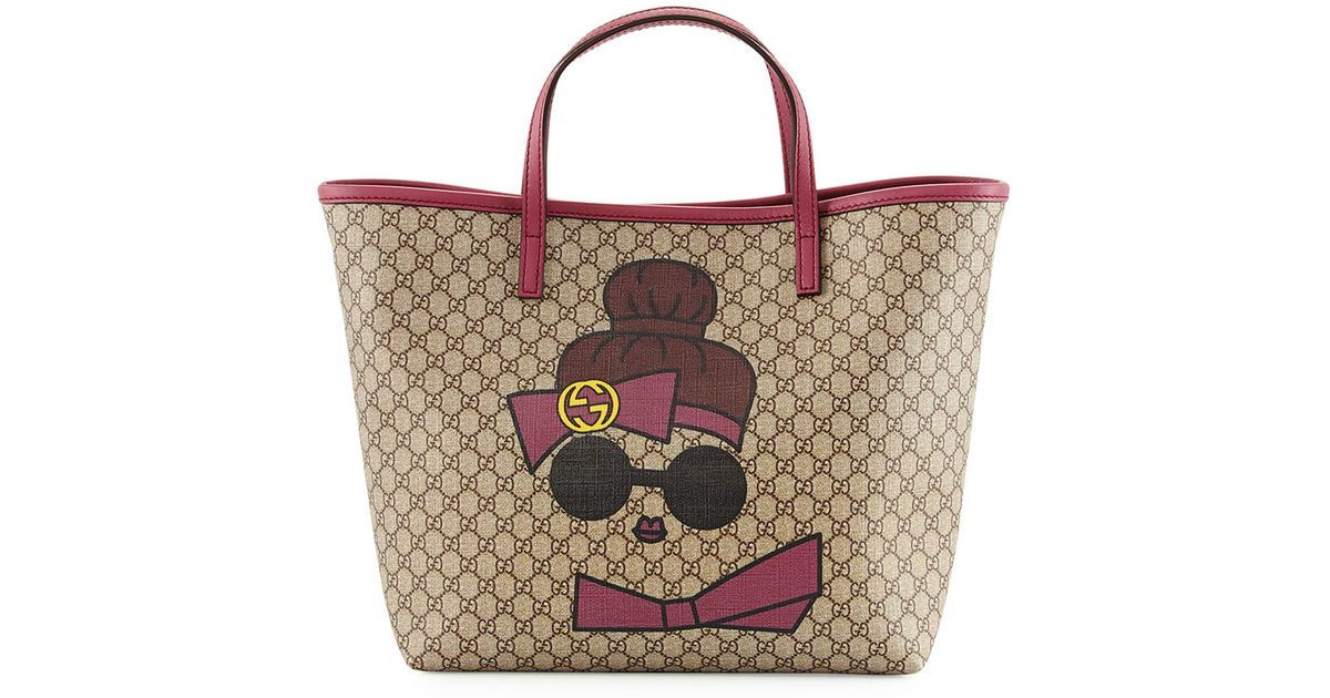 600cc6ead Gucci Kid's Doll Print Gg Supreme Tote Bag in Natural - Lyst