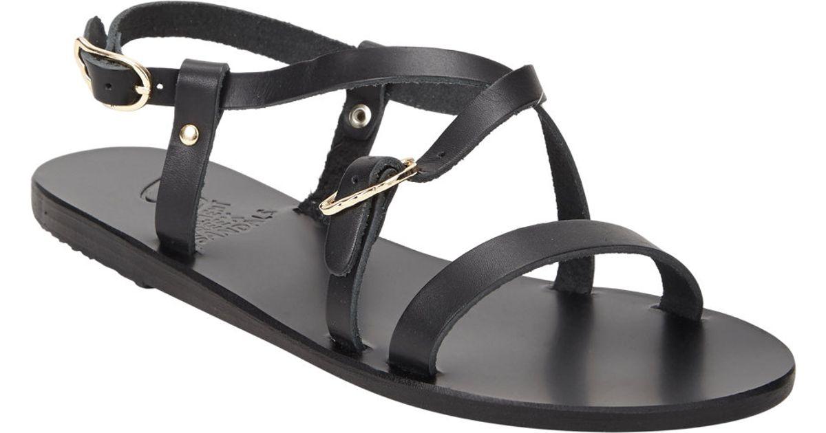 cb5371fa1be87d Ancient Greek Sandals Sofia Crisscross Slingback Flat Sandals in Black -  Lyst
