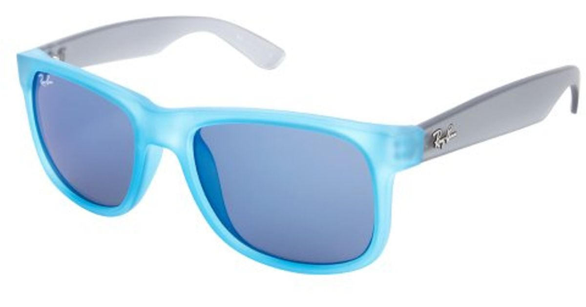 03892ac90d ... purchase lyst ray ban azure blue acrylic justin mirror lens wayfarer  sunglasses in blue for men