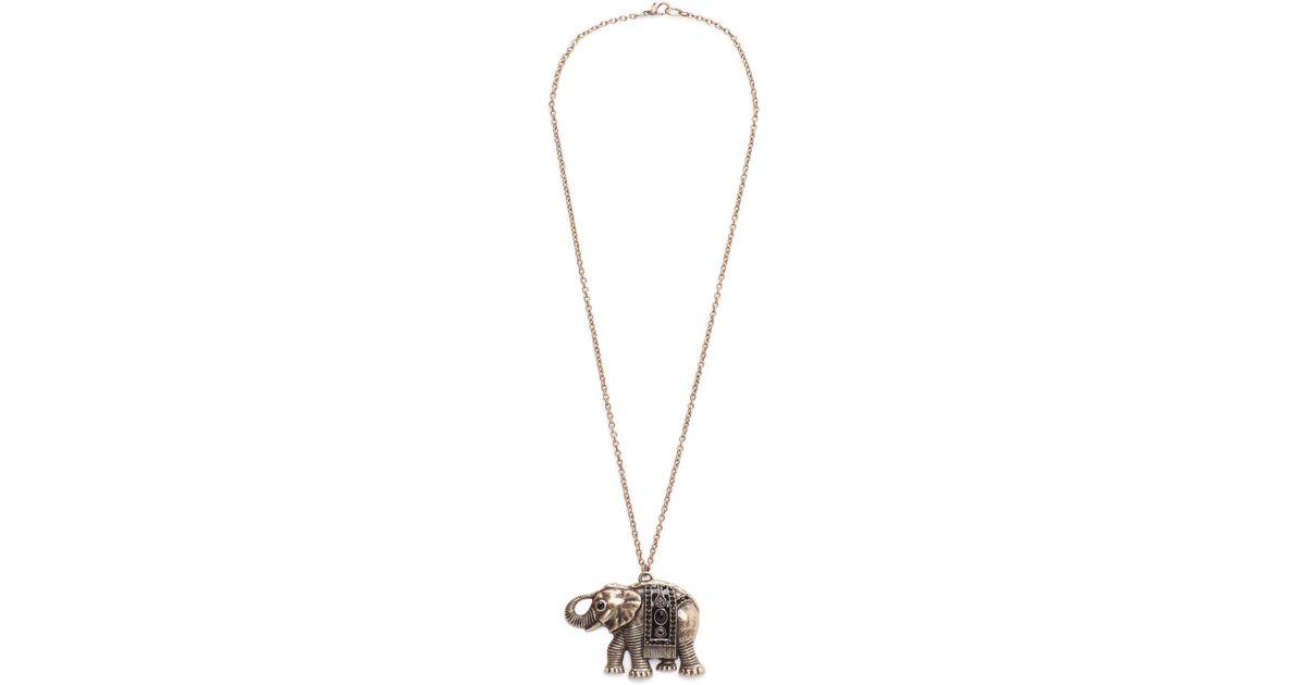 Lyst mango elephant pendant necklace in metallic aloadofball Choice Image