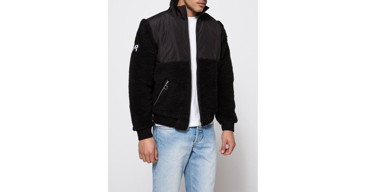 soulland stein fleece jacket in black for lyst
