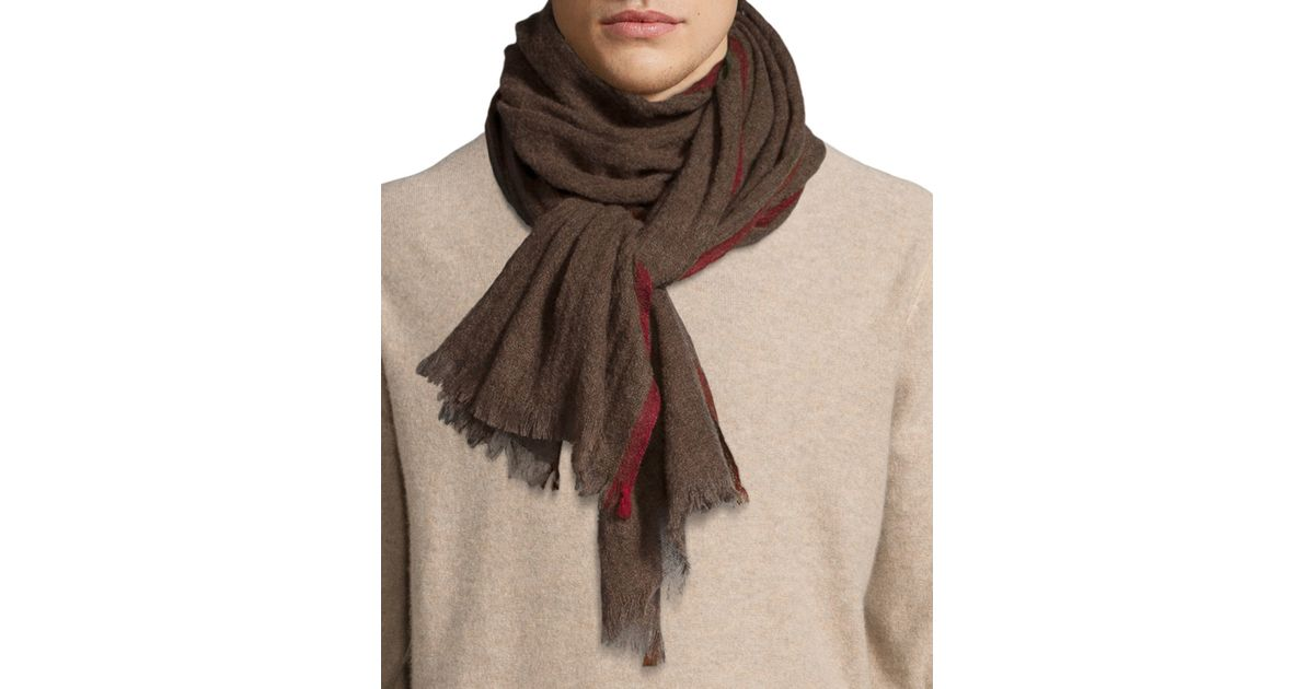 neiman contrast border scarf in brown for
