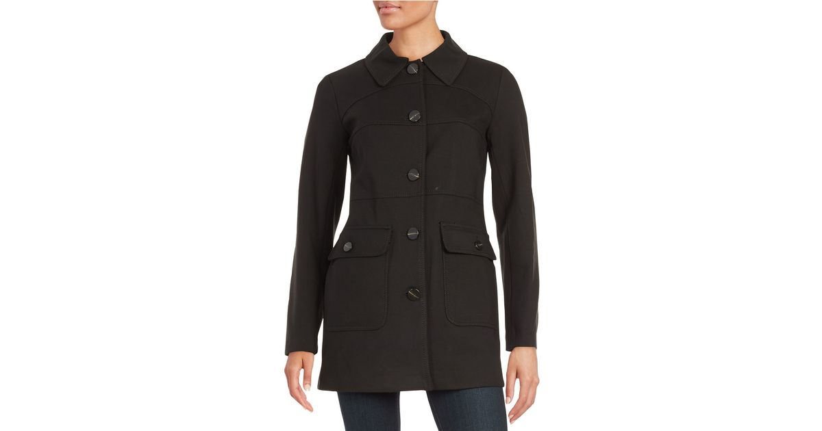 Vince camuto Button-down Car Coat in Black | Lyst
