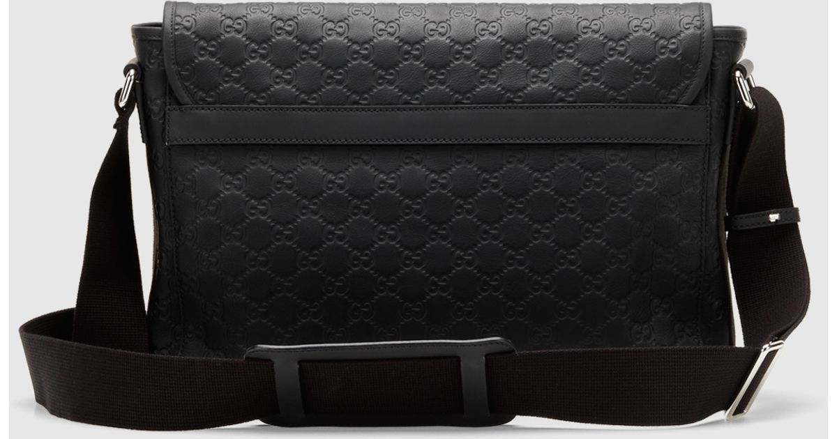 b9e6511e38d Gucci Black Ssima Leather Messenger Bag in Black for Men - Lyst
