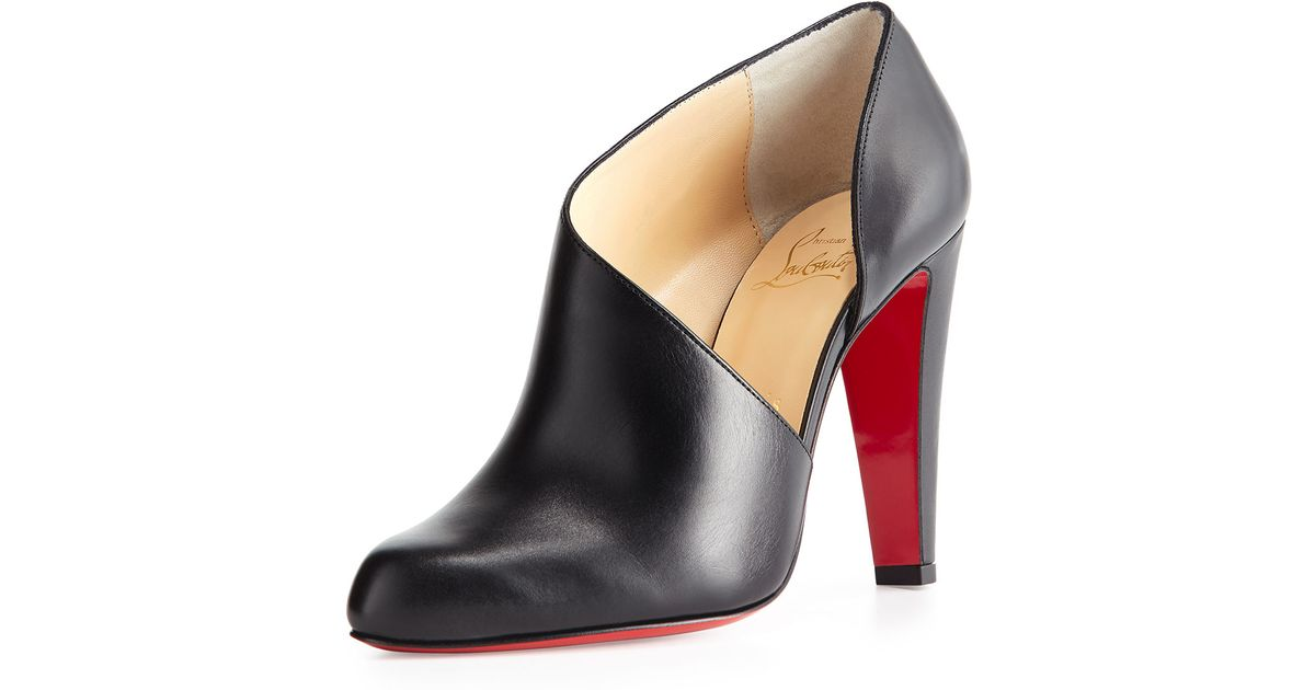 4f5aa1db6cbb ... cheap lyst christian louboutin half dorsay leather red sole bootie in  black 6415d 21c6c