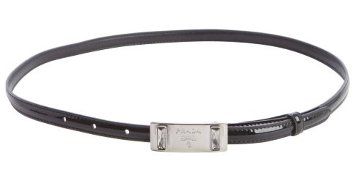 Prada Black Patent Leather Silver Buckle Skinny Belt in Black | Lyst
