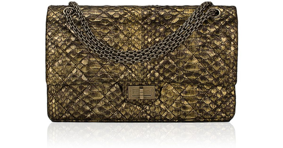30f9242101c555 Madison Avenue Couture Chanel Gold Python Quilted 2.55 Reissue 227 Double Flap  Bag in Metallic - Lyst