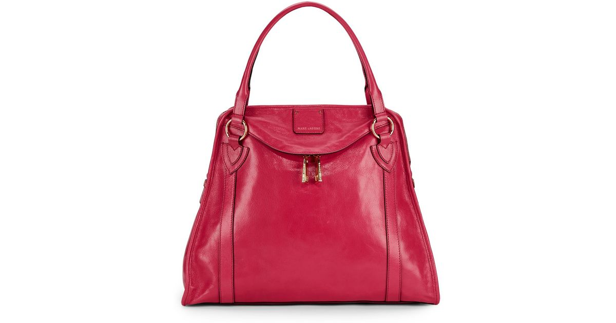 Lyst - Marc Jacobs The Wellington Leather Tote in Red 090ef58527590