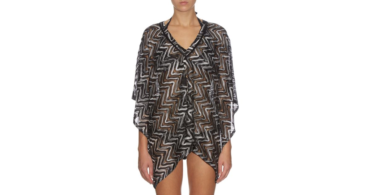 Lyst - Missoni Chevron-knit Poncho in Black