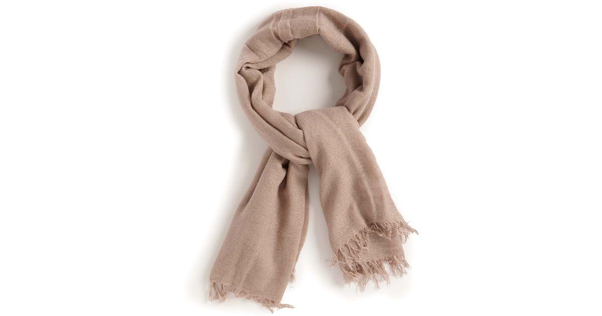chan luu silk lurex scarf in beige lyst