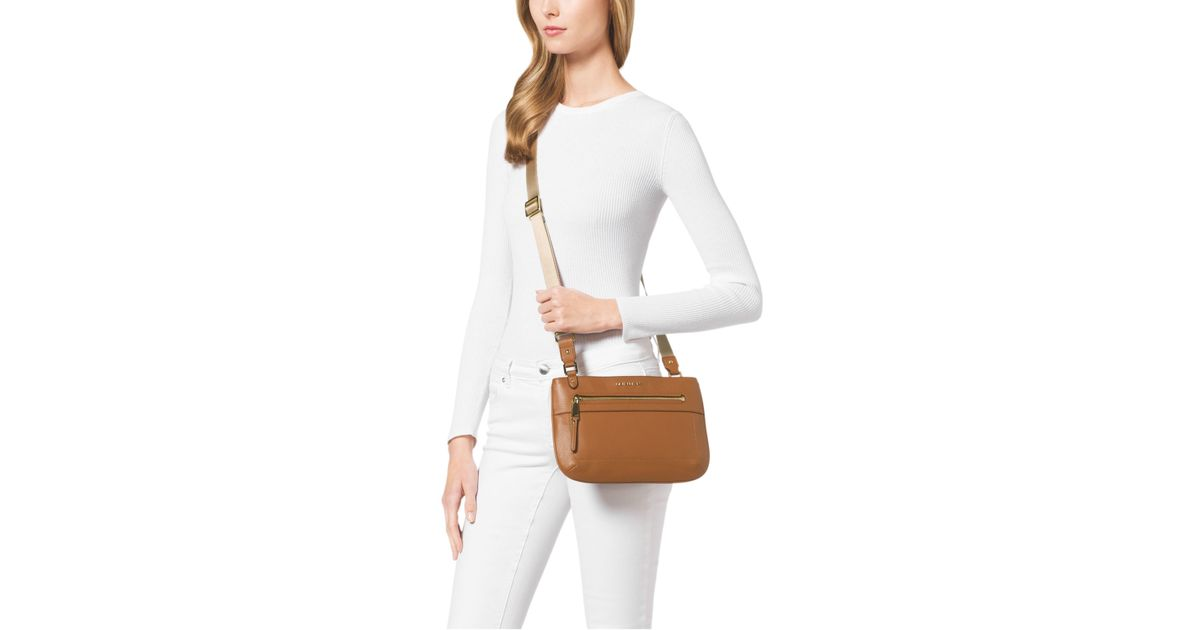 9372f7368990 Michael Kors Jet Set Large Leather Crossbody in Brown - Lyst