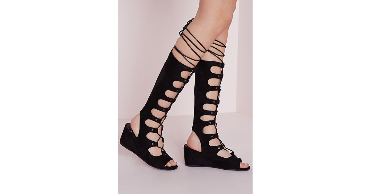 Missguided Knee High Wedge Gladiator Sandals Black In