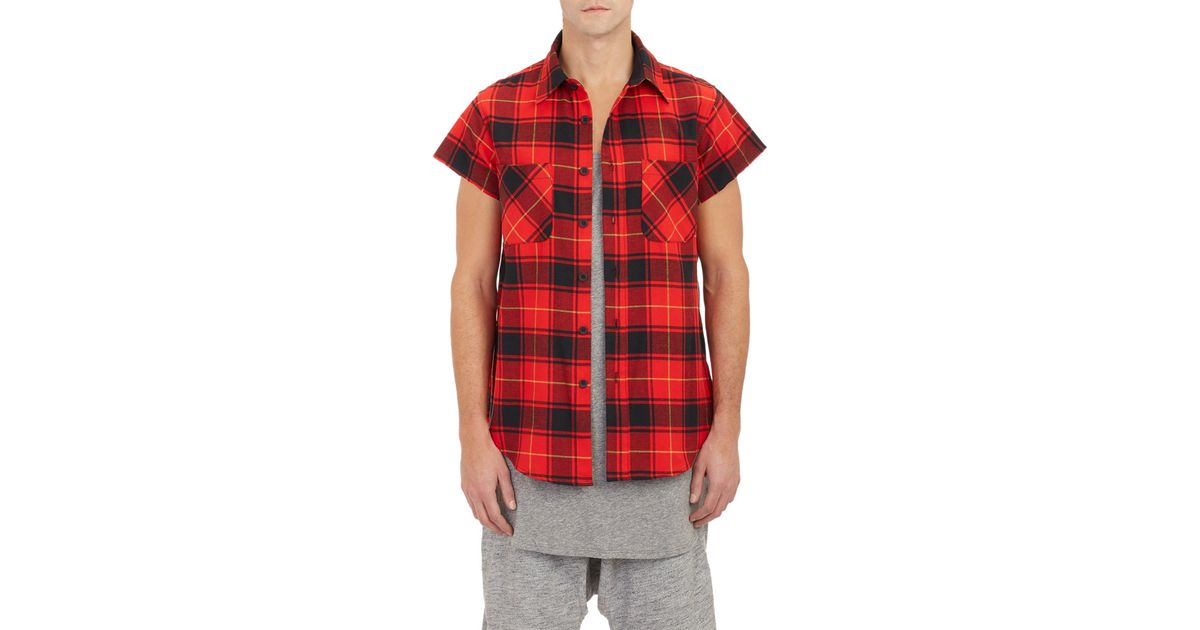 Fear Of God Side Zip Short Sleeve Flannel Shirt In Red For Men Lyst