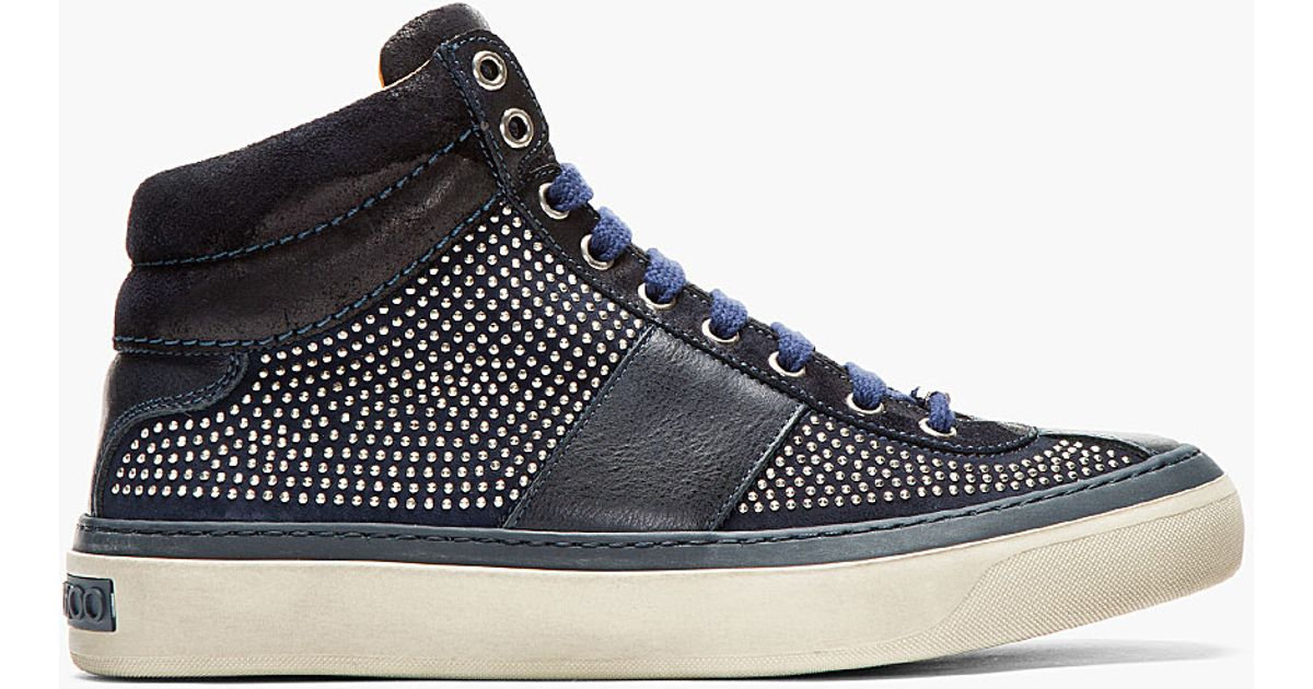 f20f76199c61 Lyst - Jimmy Choo Black Leather and Suede Studded Belgravia Sneakers in  Black for Men