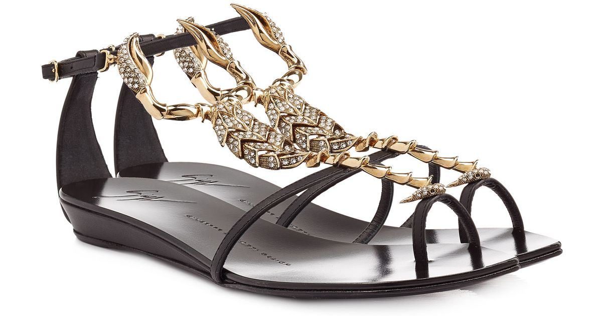 0e2eddc384b7e Giuseppe Zanotti Bejeweled Scorpion Flat Sandal in Metallic - Lyst