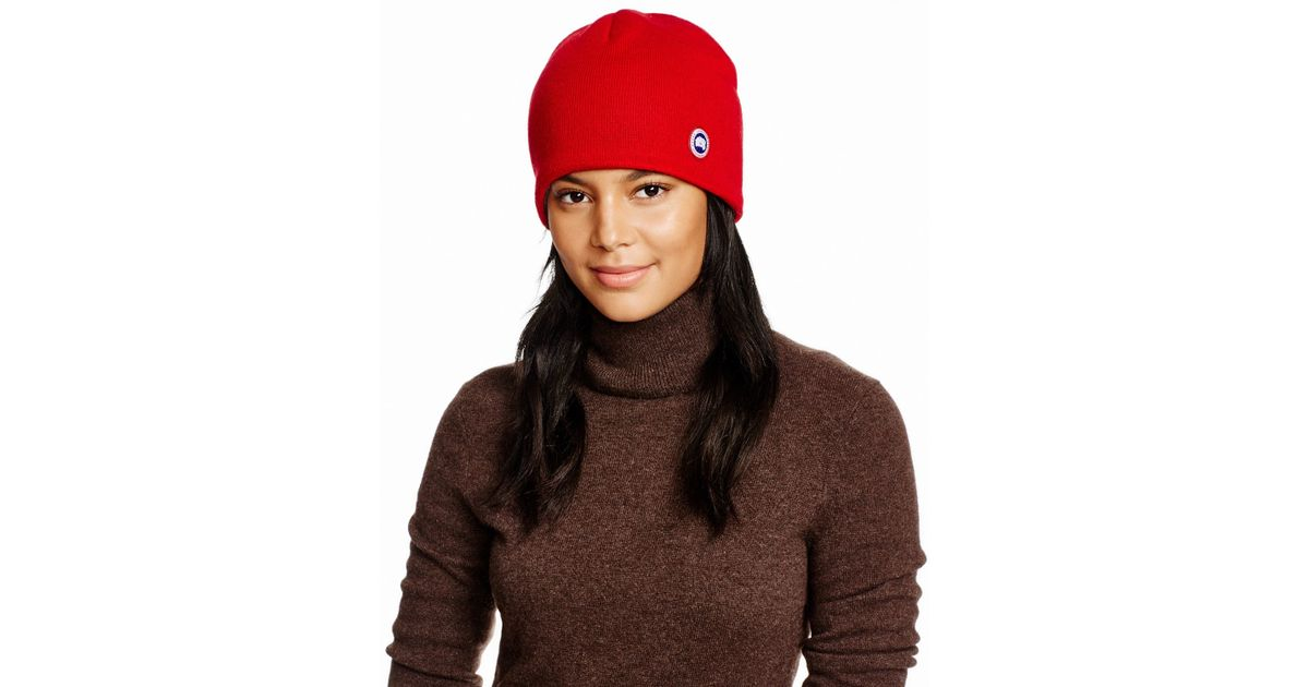 0078a8a15a0 Canada Goose Merino Wool Beanie in Red - Lyst