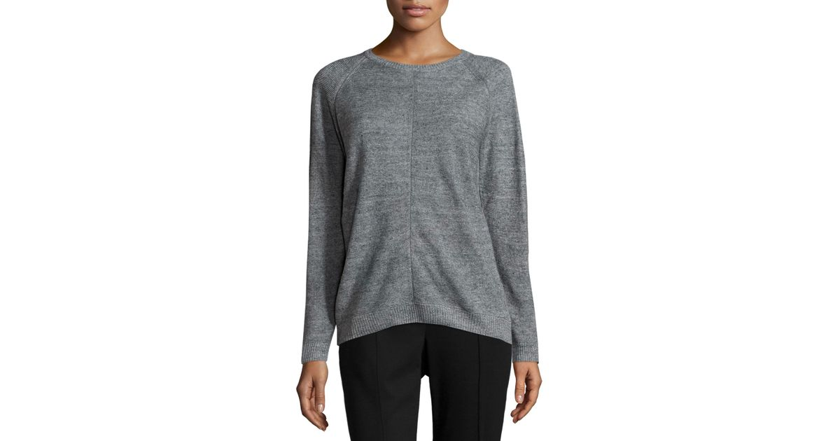 Knitting Joining Raglan Seams : Lafayette new york mesh seam raglan sweater in gray
