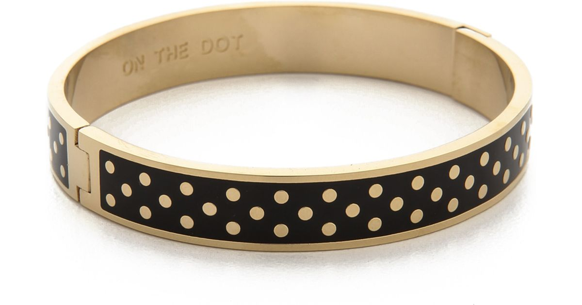 Lyst Kate Spade New York On The Dot Hinged Idiom Bangle Bracelet Black Gold In Metallic
