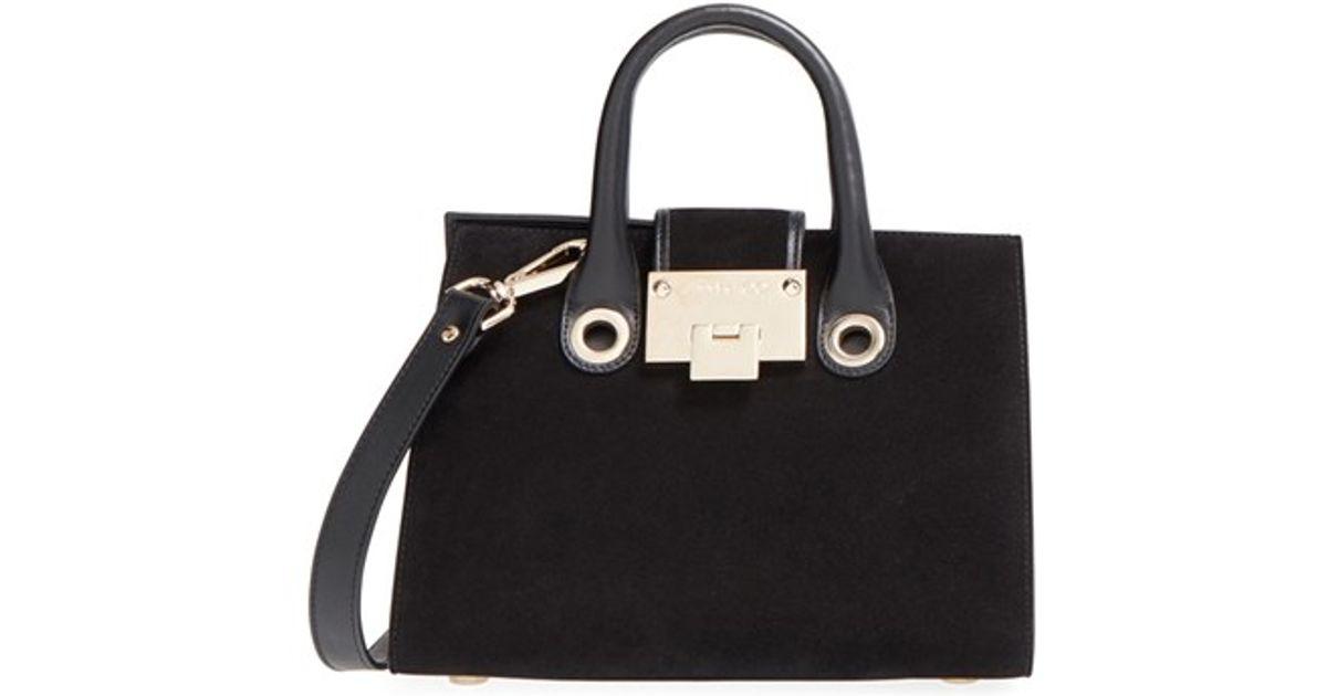 84319024bc9 Lyst - Jimmy Choo  small Riley  Suede Crossbody Bag in Black