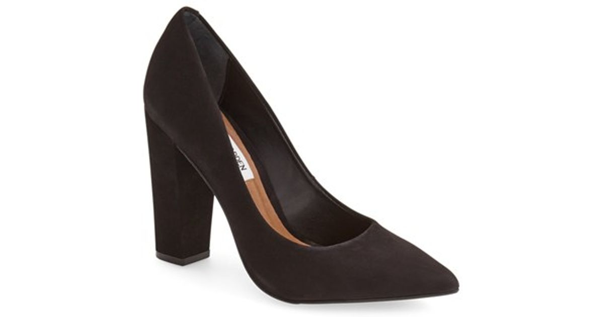 35e339be0a7 Lyst - Steve Madden  primpy  Pointy Toe Block Heel Pump in Black