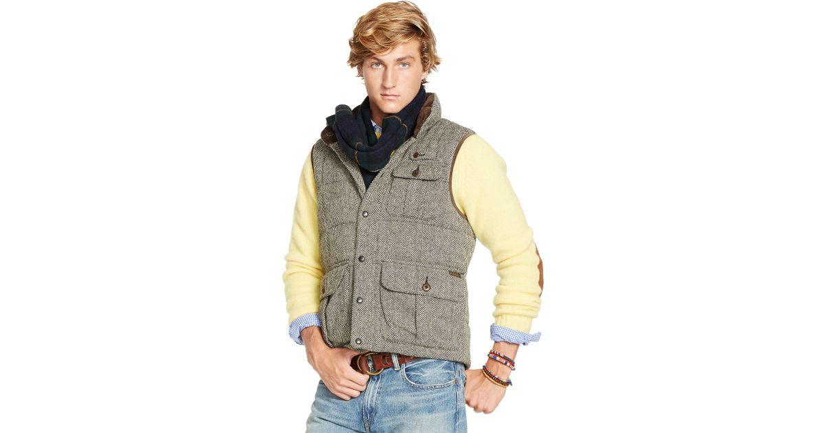 Lyst - Polo Ralph Lauren Quilted Herringbone Down Vest in Natural for Men