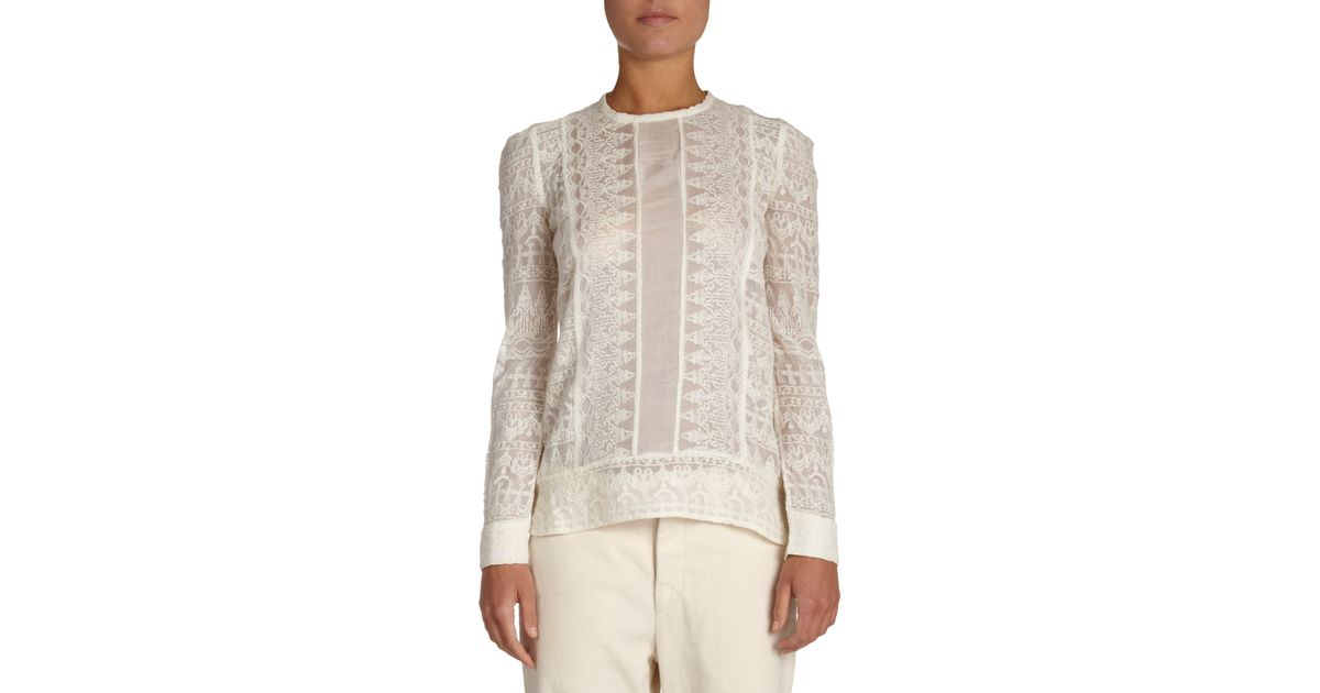 894d4afbd9 Isabel Marant Tess Embroidered Gauze Top in White - Lyst