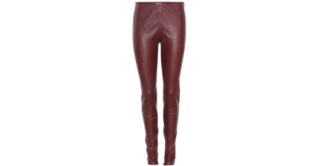 2cfb1d4efca8ae Balenciaga Leather Leggings in Purple - Lyst
