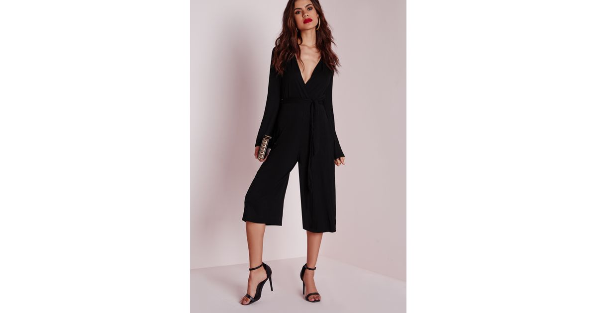 80740afd82 Missguided Jersey Wrap Belt Culotte Jumpsuit Black in Black - Lyst