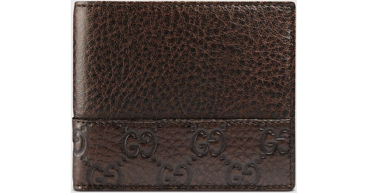 9b2651339dc5 Gucci Leather Bi-fold Wallet With Microguccissima Trim in Brown for Men -  Lyst