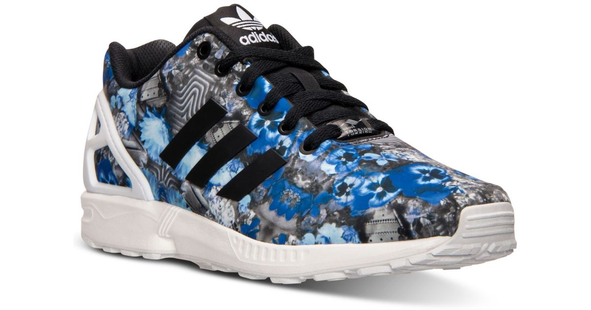 new arrivals e64e2 bffce ... red running white 93964 61277  discount lyst adidas originals mens zx  flux floral print running sneakers from finish line in blue