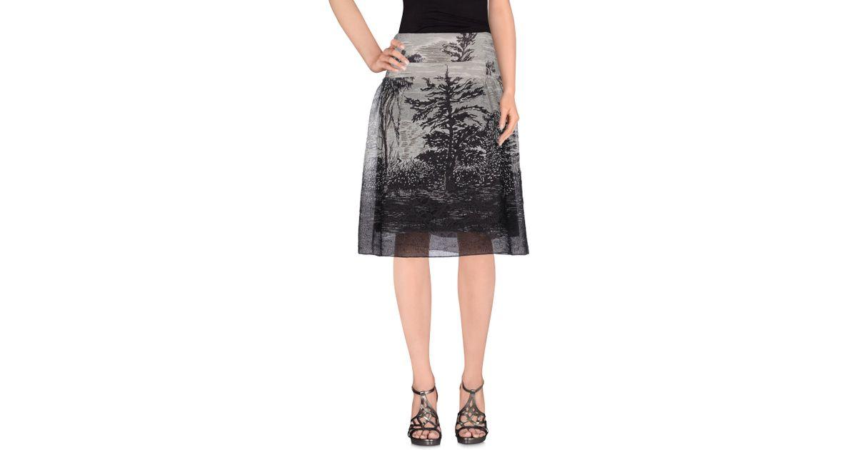 marni knee length skirt in gray lyst