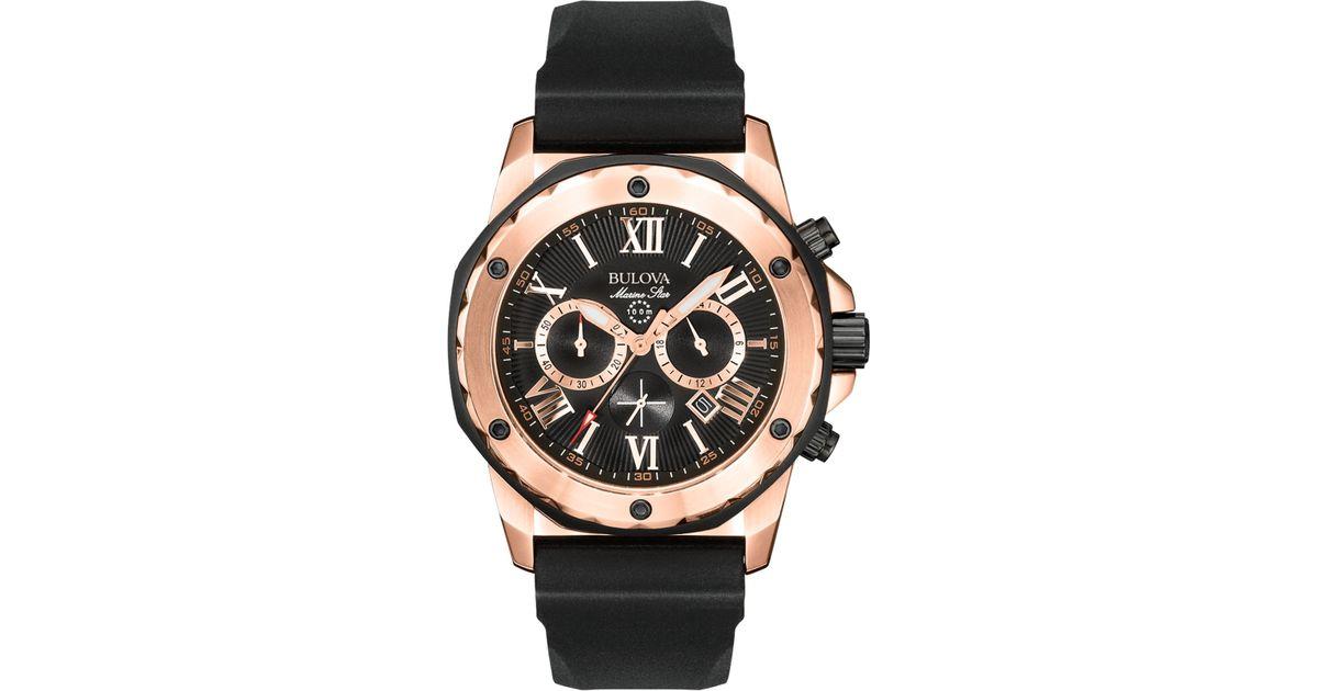 bulova s chronograph black rubber 44mm