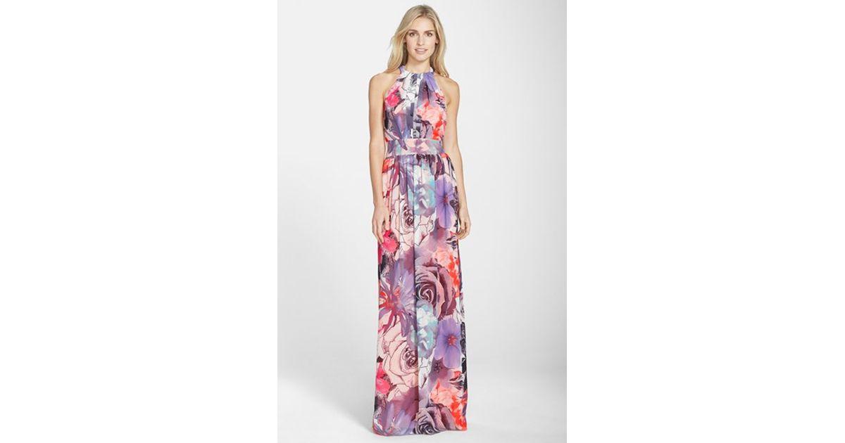 a6e03d9e3df3 Eliza J Print Chiffon Maxi Dress - Lyst