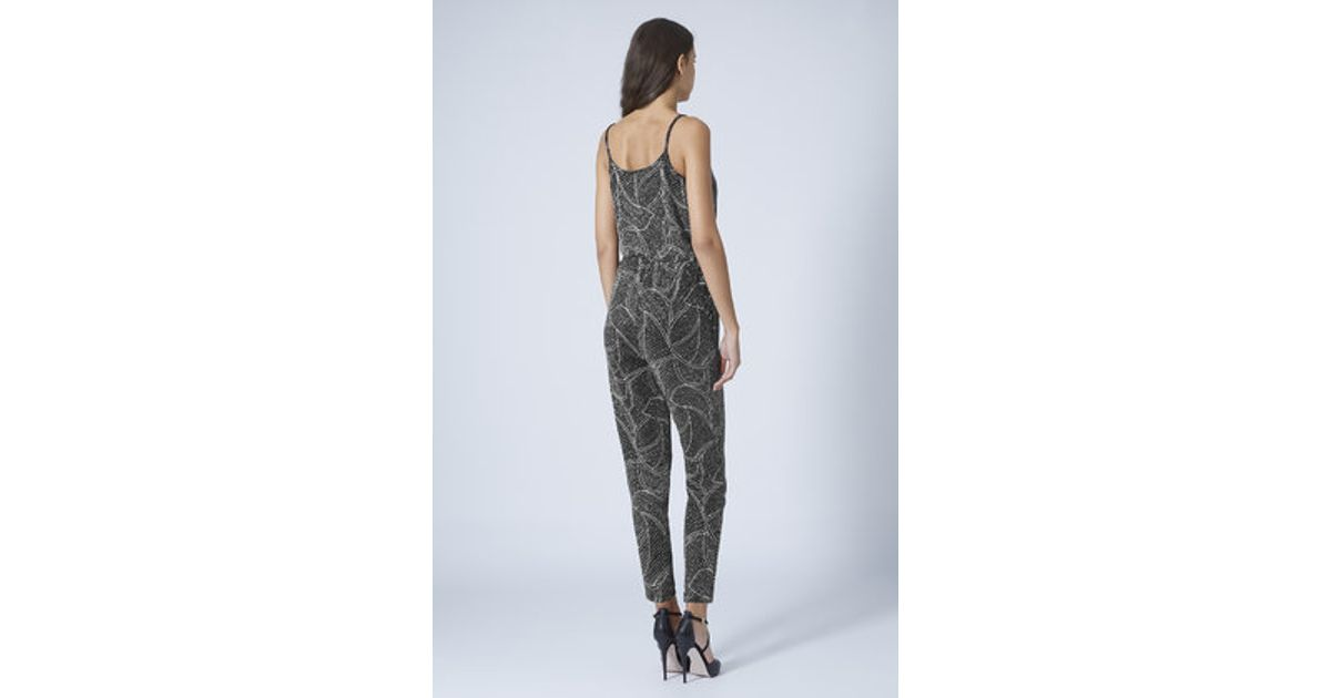 b16aceb3724 TOPSHOP Petite Glitter Leaf Wrap Jumpsuit in Metallic - Lyst