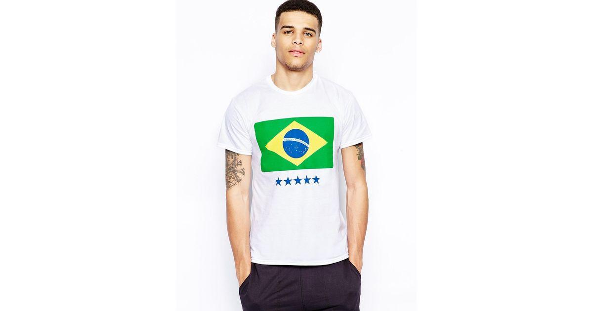 aa95eefc Born Idol Brazil Flag T-shirt in White for Men - Lyst
