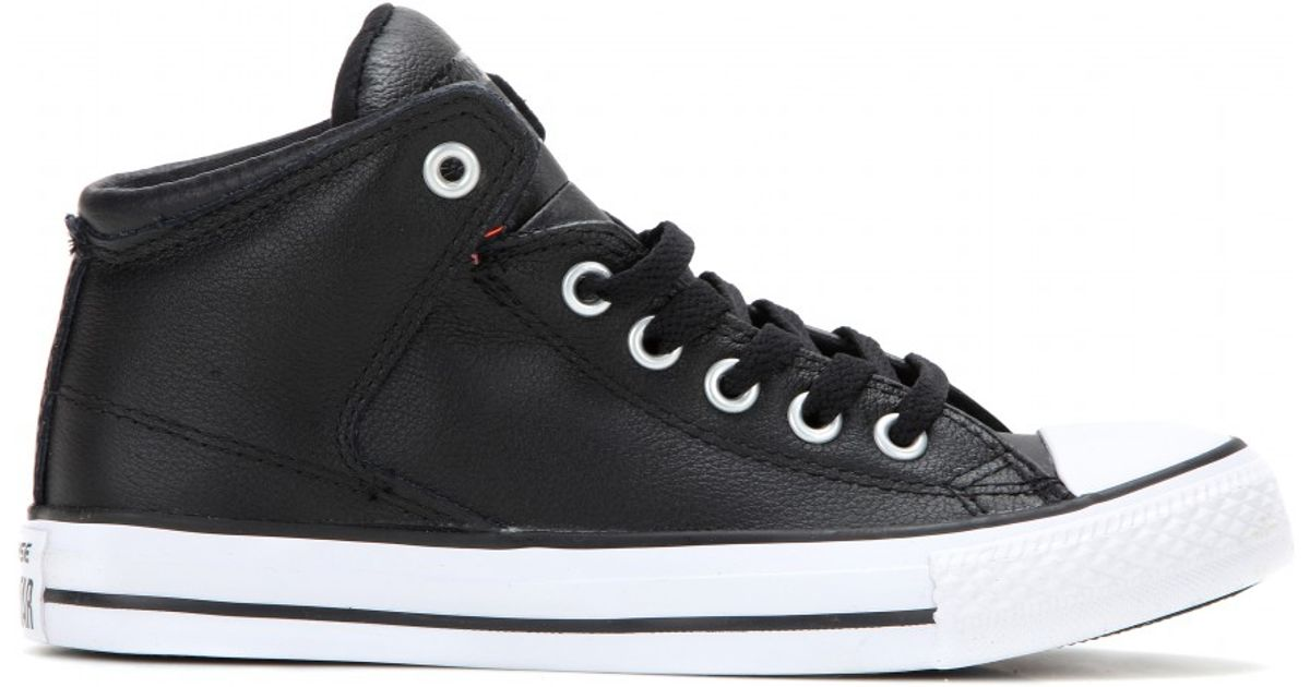 26fbfbd85653 Lyst - Converse Chuck Taylor All Star High Street Leather Sneakers in Black