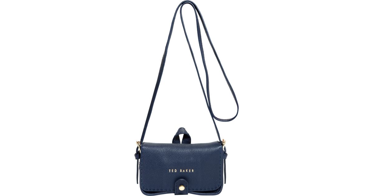 Ted Baker Minimar Stab Stitch Leather Cross Body Bag in Blue - Lyst 85c9af950f75e