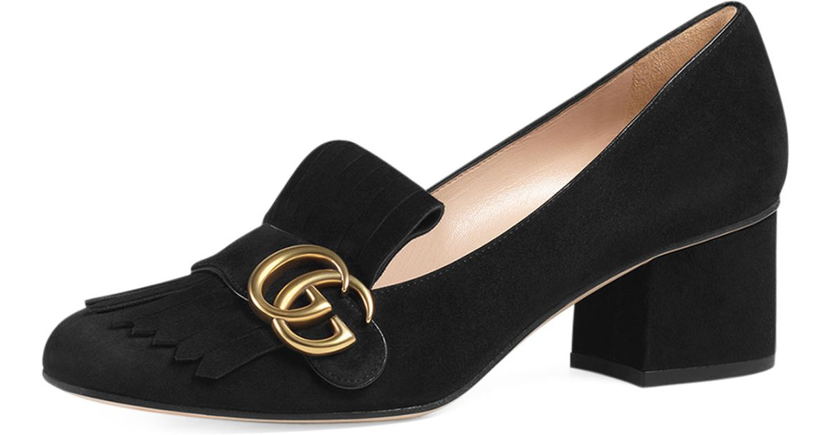 0d9cdd6d5cb Lyst - Gucci Marmont Fringed Loafers in Black