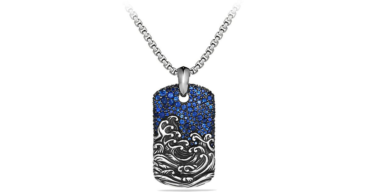 David yurman Waves Tag Necklace in Blue for Men SAPPHIRE