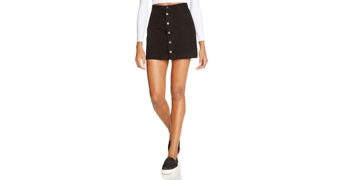 american apparel button front denim skirt in black lyst