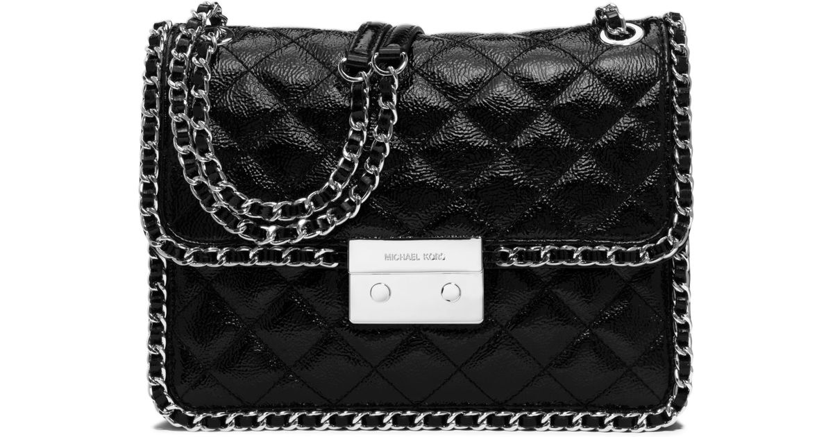 Lyst - Michael Kors Carine Large Quilted Patent-leather Shoulder Bag in  Black 2c6d661bc
