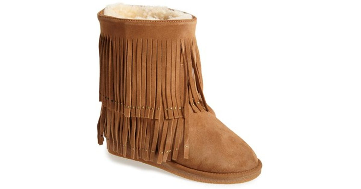14b5cadcb20 Koolaburra - Brown 'savannity Ii' Genuine Shearling Fringe Boot - Lyst