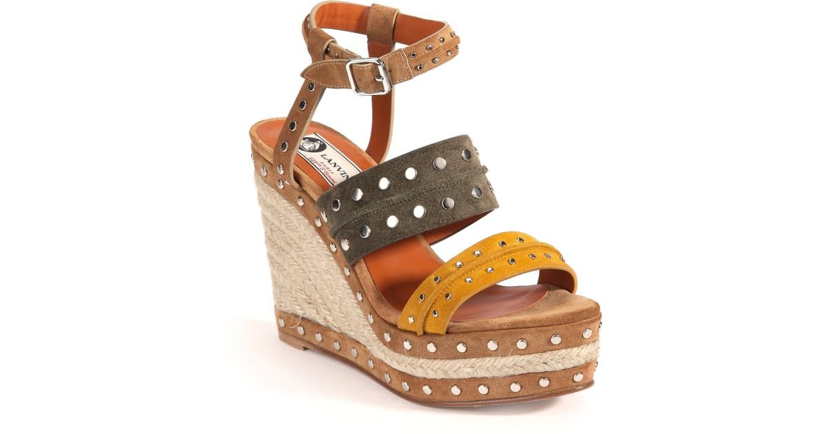 Lyst - Lanvin Studded Suede Espadrille Wedge Sandals in Yellow