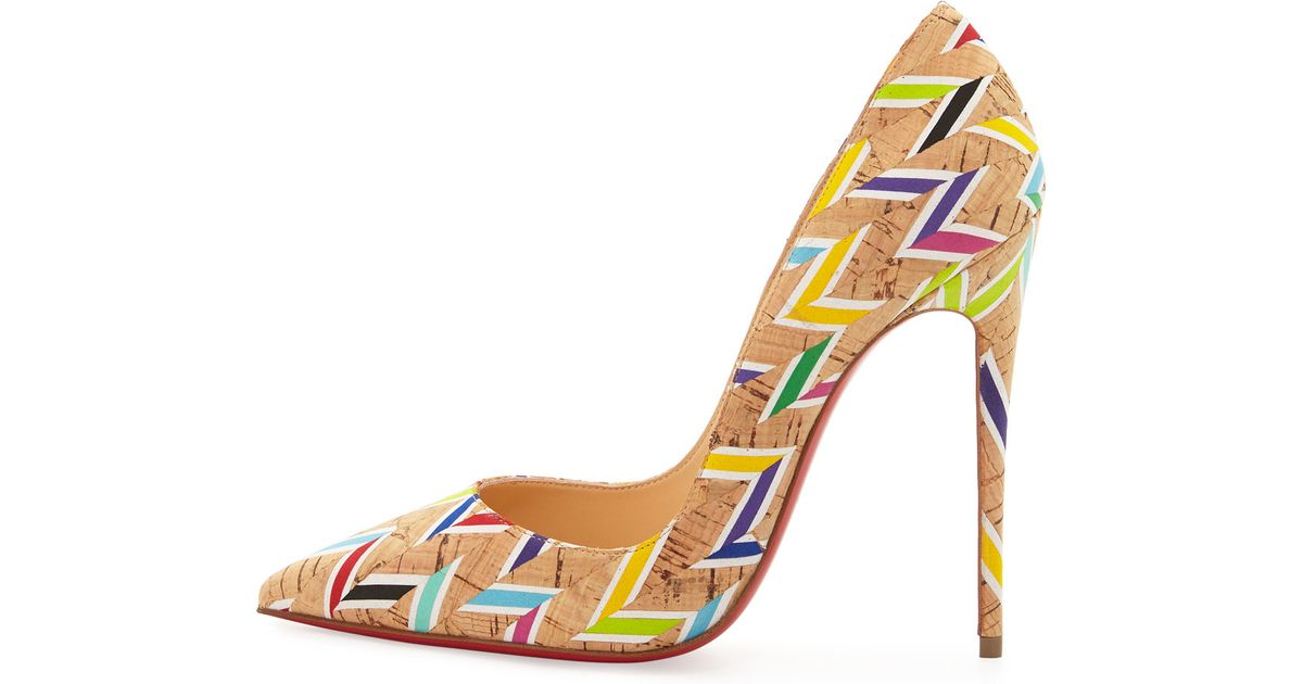d22d5e4a1282 Lyst - Christian Louboutin So Kate Printed Cork Pumps in Natural