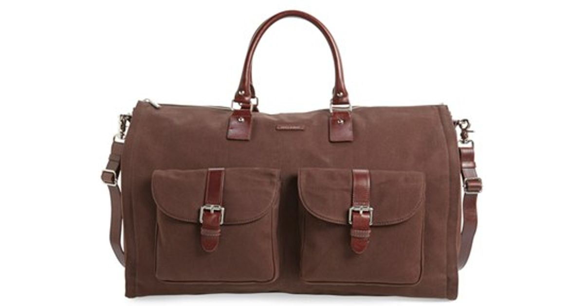 hook albert canvas garment duffel bag in brown lyst