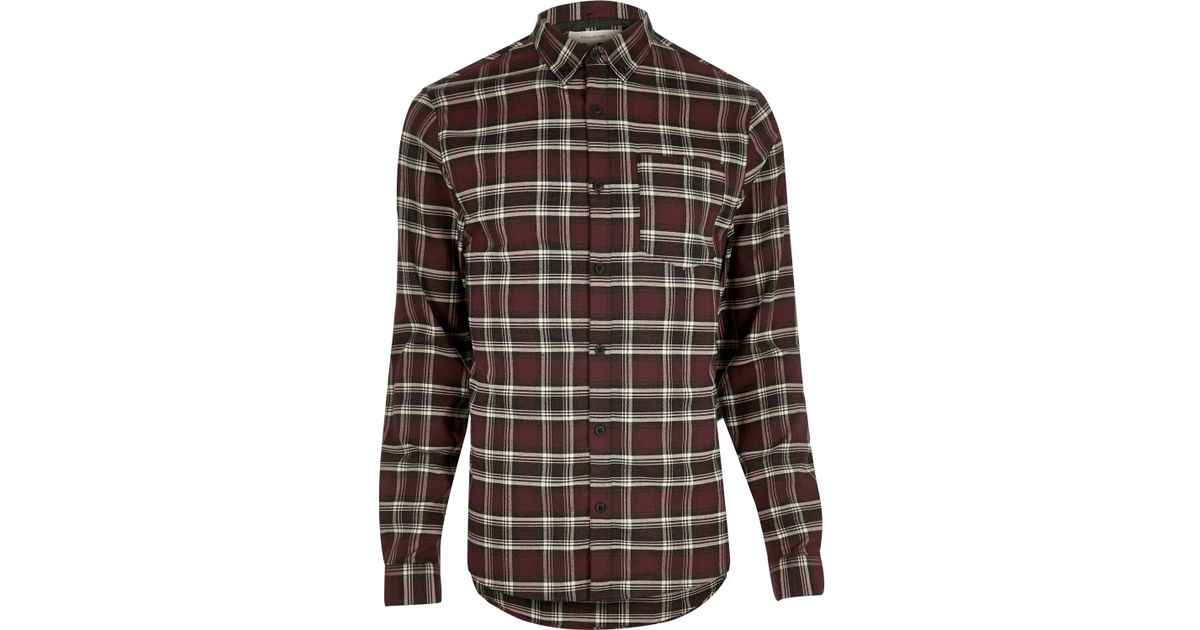 River island red casual check stretch flannel slim shirt for Women s slim fit flannel shirt
