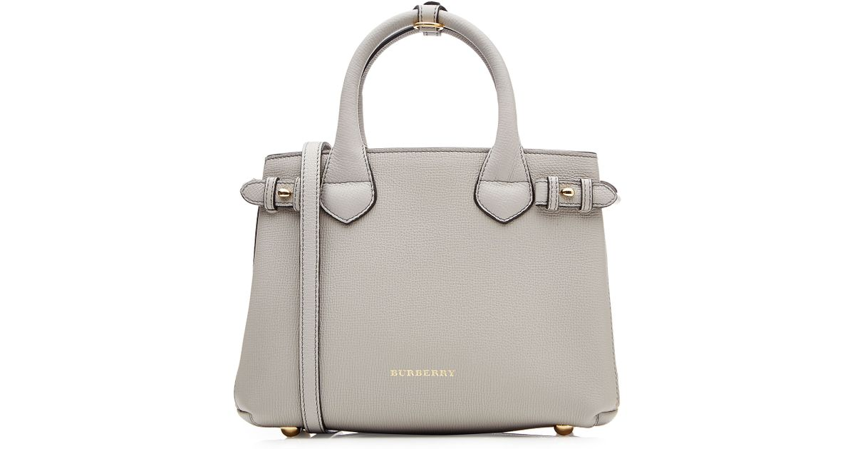 013e3108bbe6 Burberry Small Banner Leather Tote - Grey in Gray - Lyst