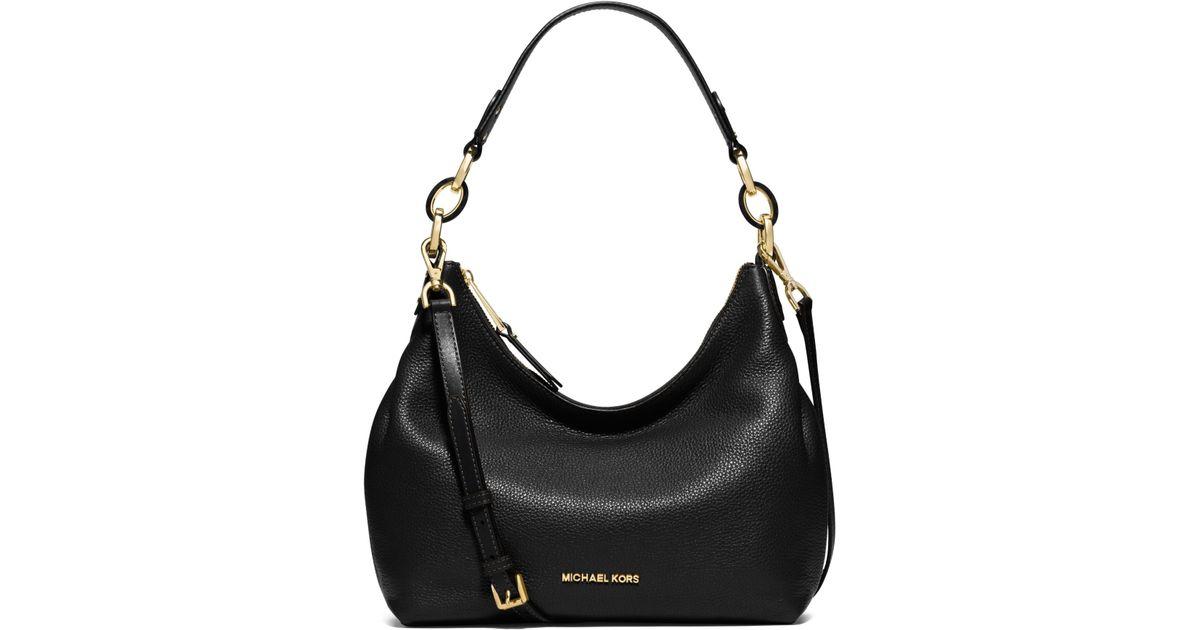 d73851dab9c3 Lyst - Michael Kors Isabella Medium Leather Shoulder Bag in Black