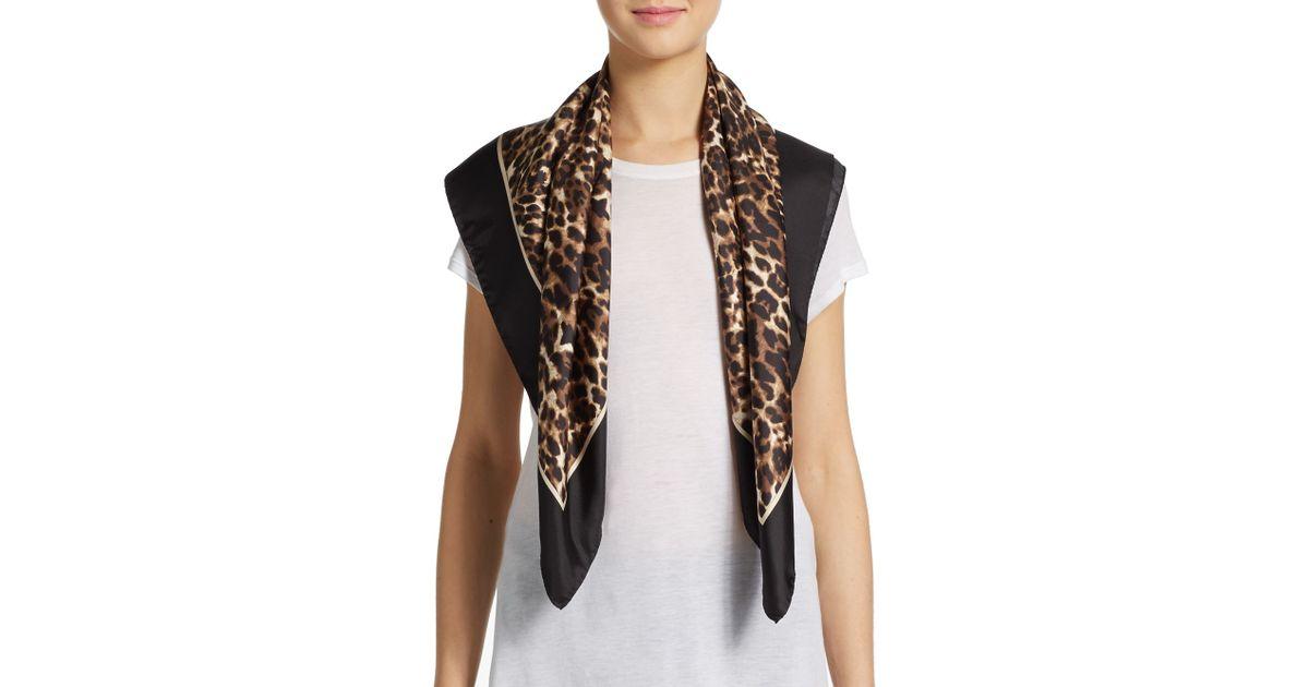 ab0e3c811e22 Lyst - Valentino Leopard-print Silk Scarf in Black