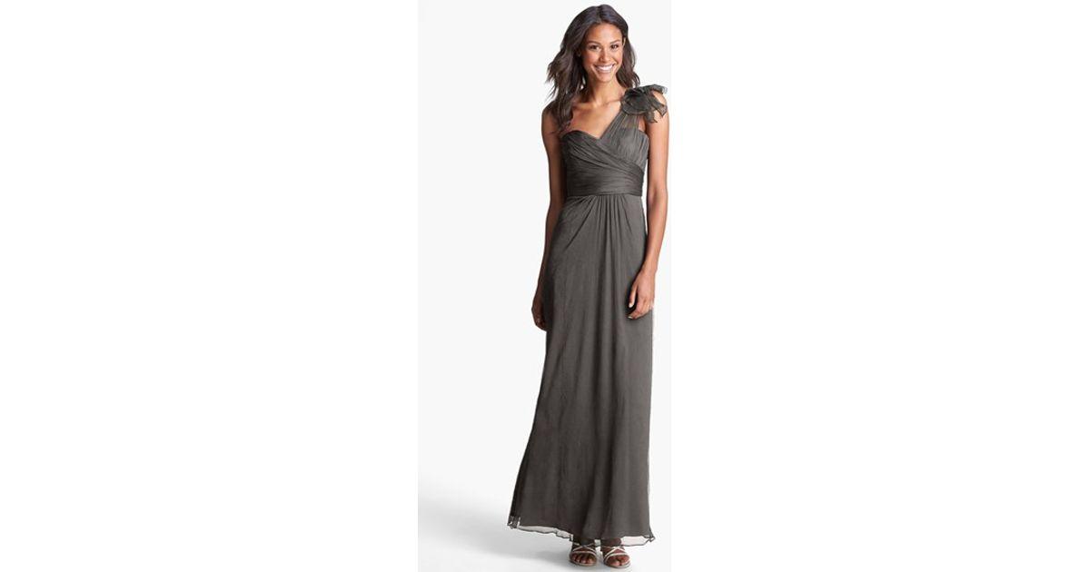 Lyst - Amsale Illusion Shoulder Crinkled Silk Chiffon Dress in Gray